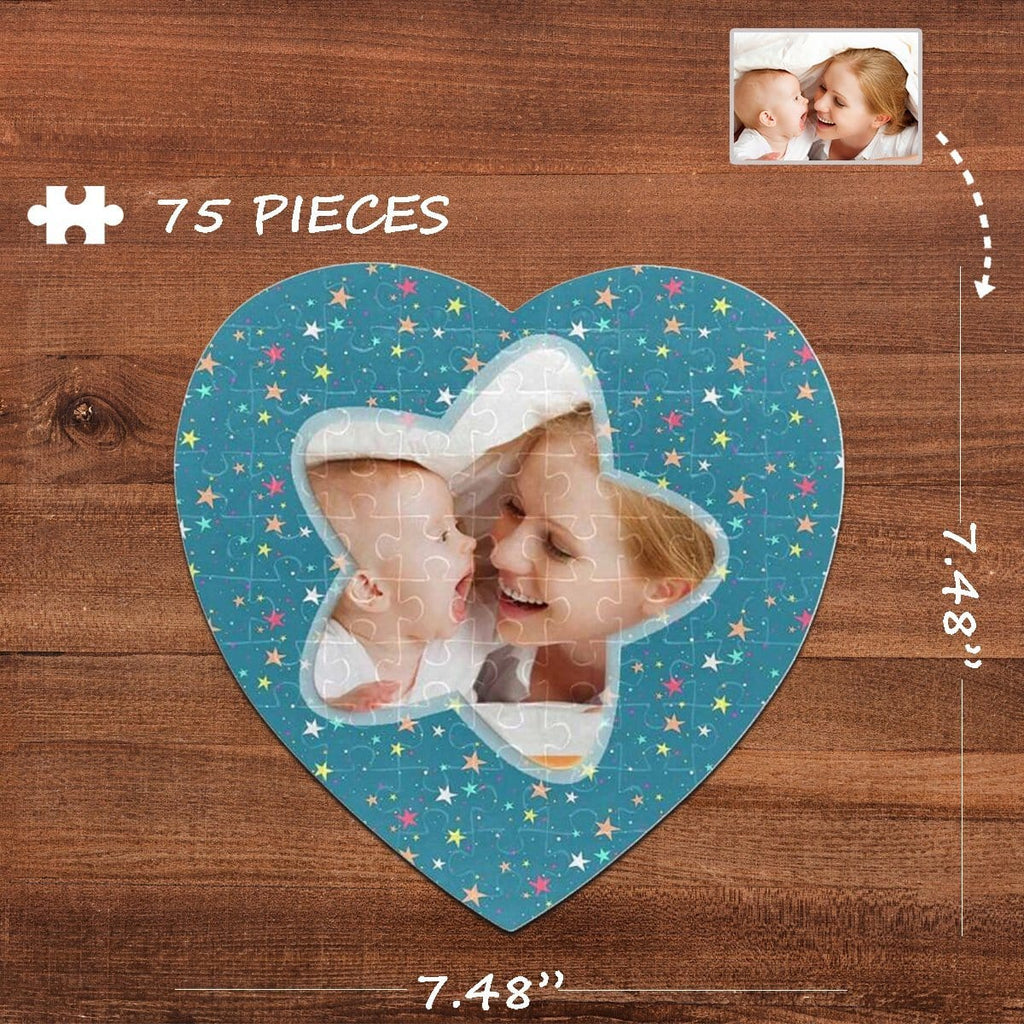 Custom Photo Colorful Stars Heart-Shaped Jigsaw Puzzle Best Indoor Gifts For Lover 75 Pieces