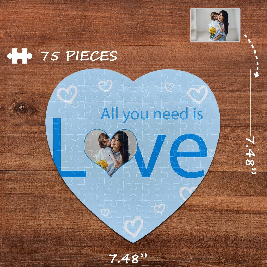 Custom Photo Need Love Heart-Shaped Jigsaw Puzzle Best Indoor Gifts 75 Pieces