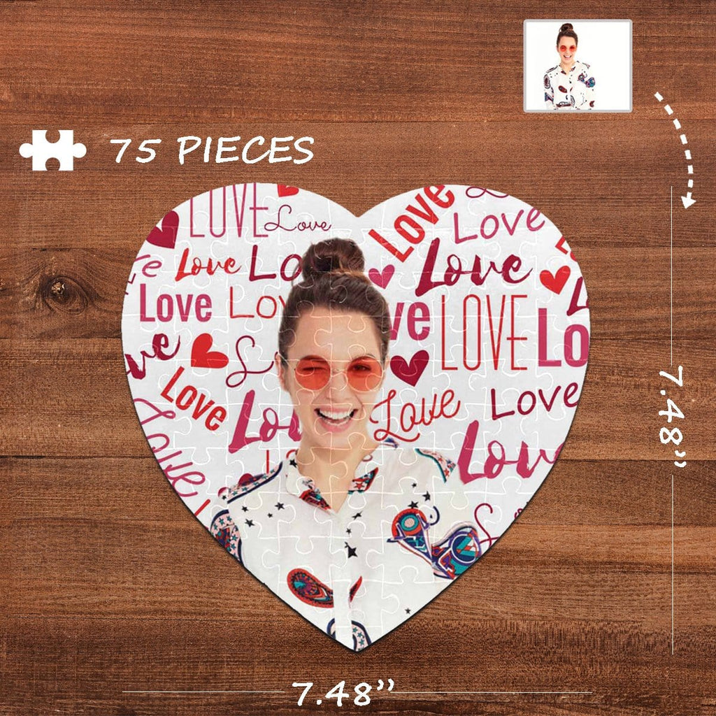 Custom Photo Love Heart-Shaped Jigsaw Puzzle Best Indoor Gifts 75 Pieces