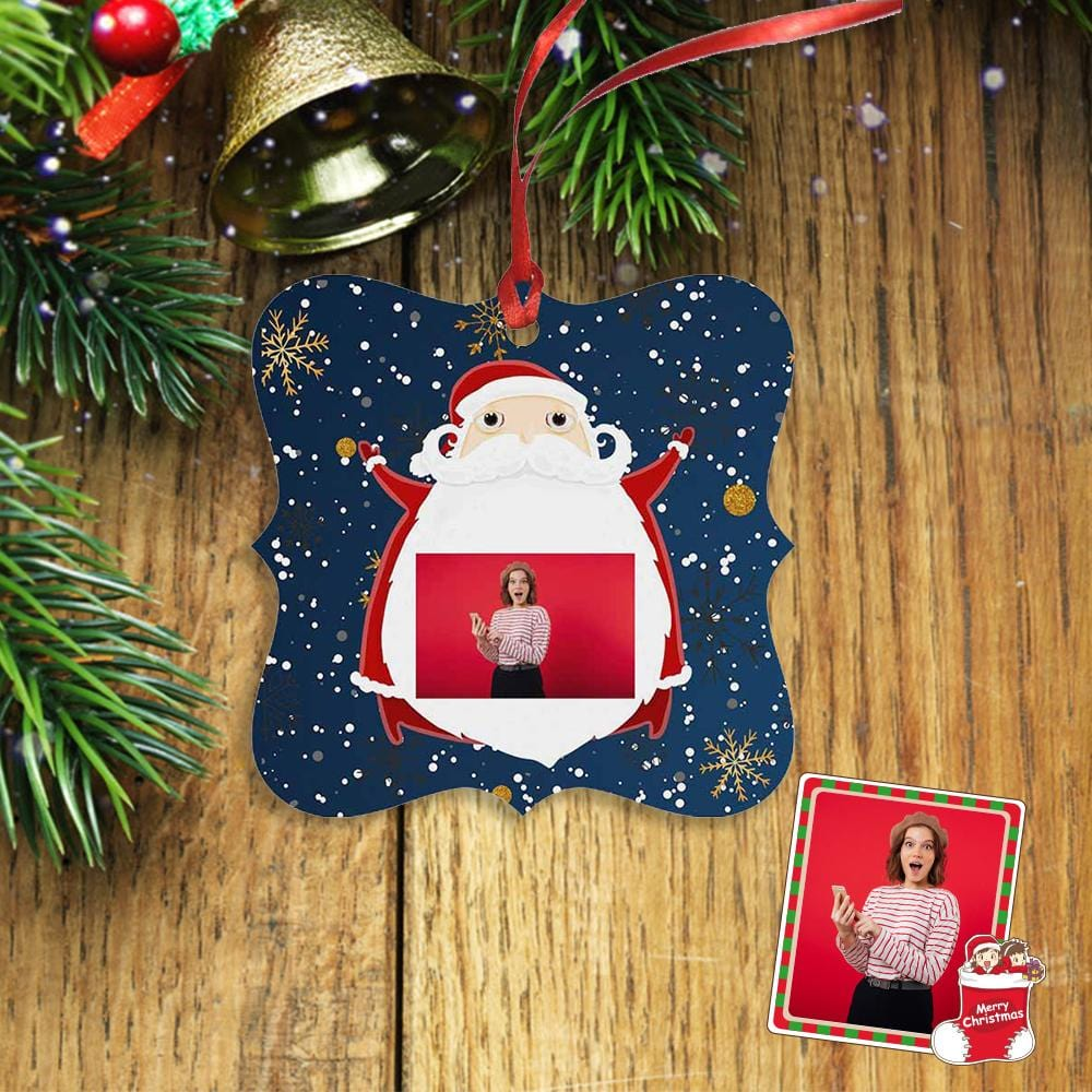 Custom Photo Christmas Snowflake Square Ornament