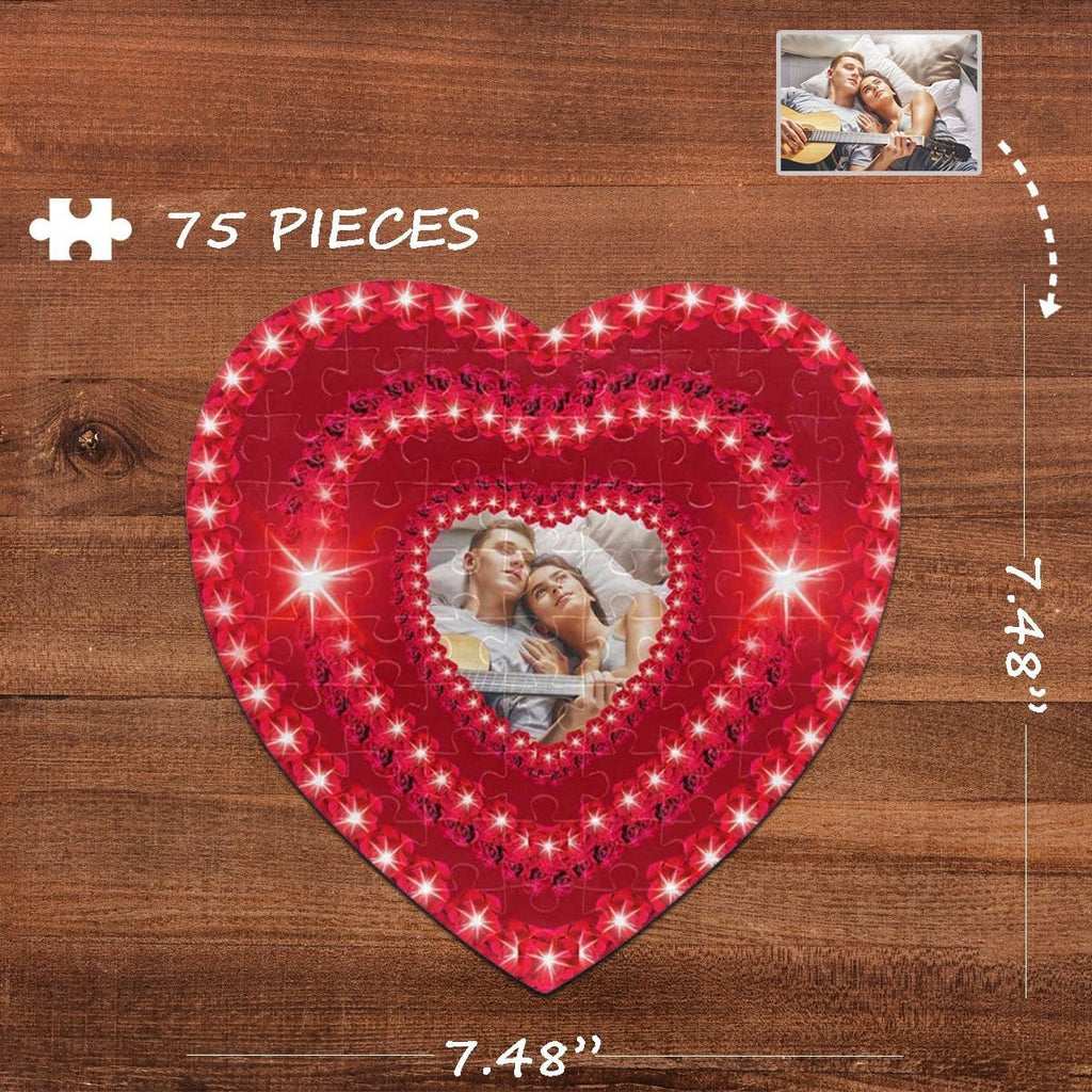 Custom Photo Heart-Shaped Jigsaw Puzzle Best Indoor Gifts For Lover 75 Pieces