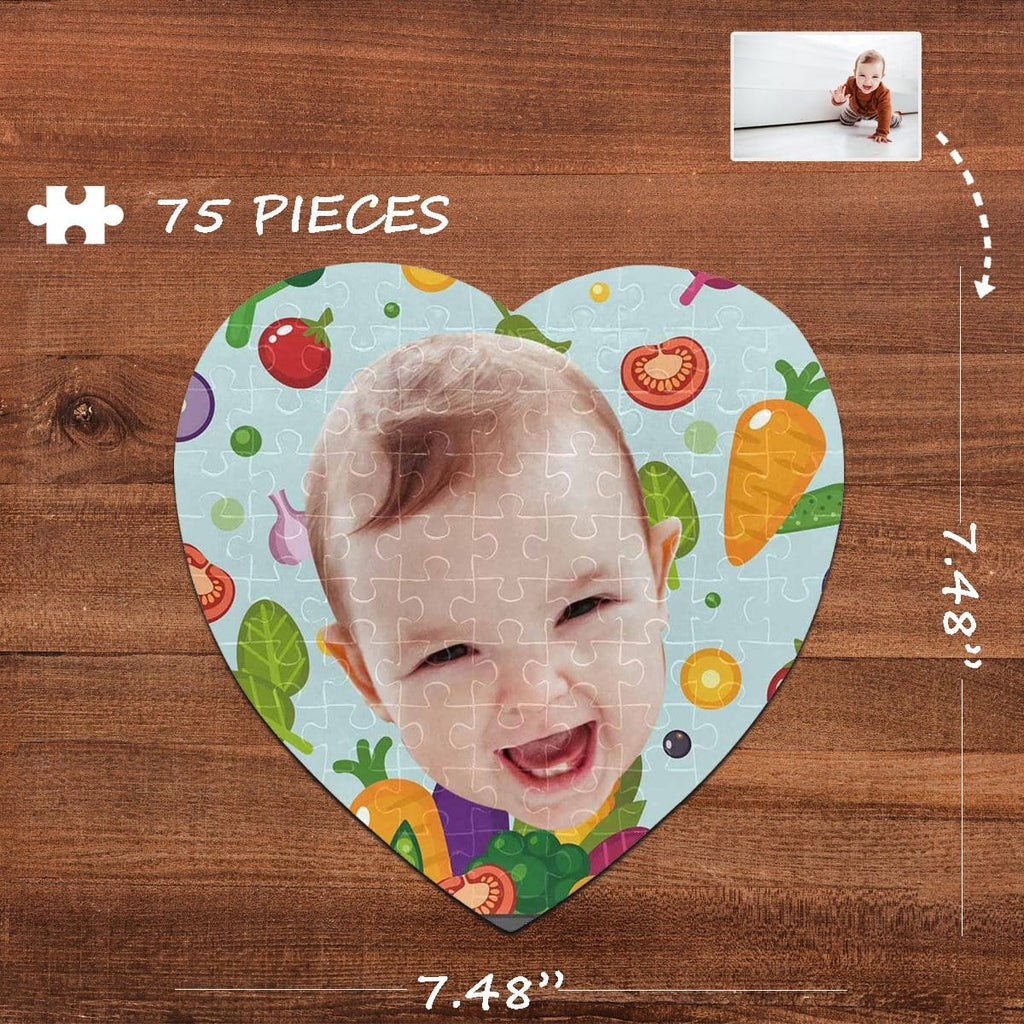 Custom Face Delicious Heart-Shaped Jigsaw Puzzle Best Indoor Gifts 75 Pieces