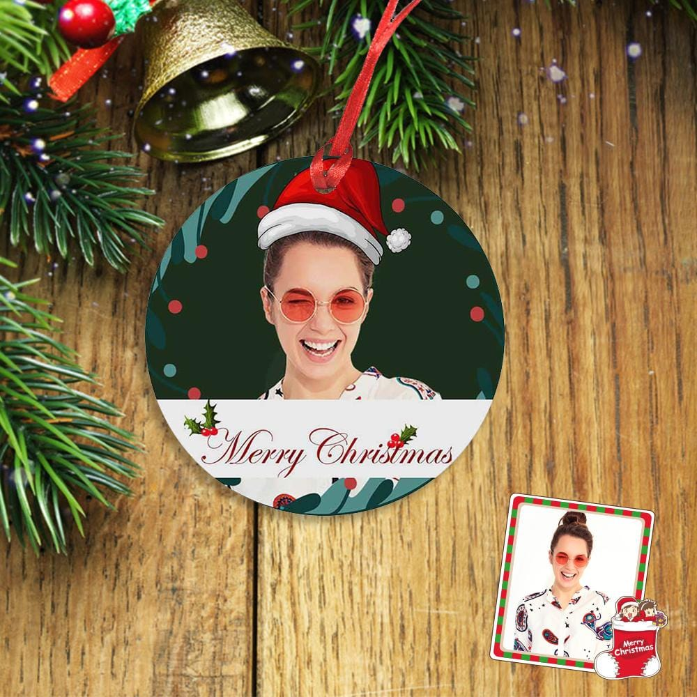 Custom Face Merry Christmas Circle Ornament
