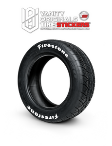 Firestone ( 8x Rubber Decals, Adhesive & Instructions Included )