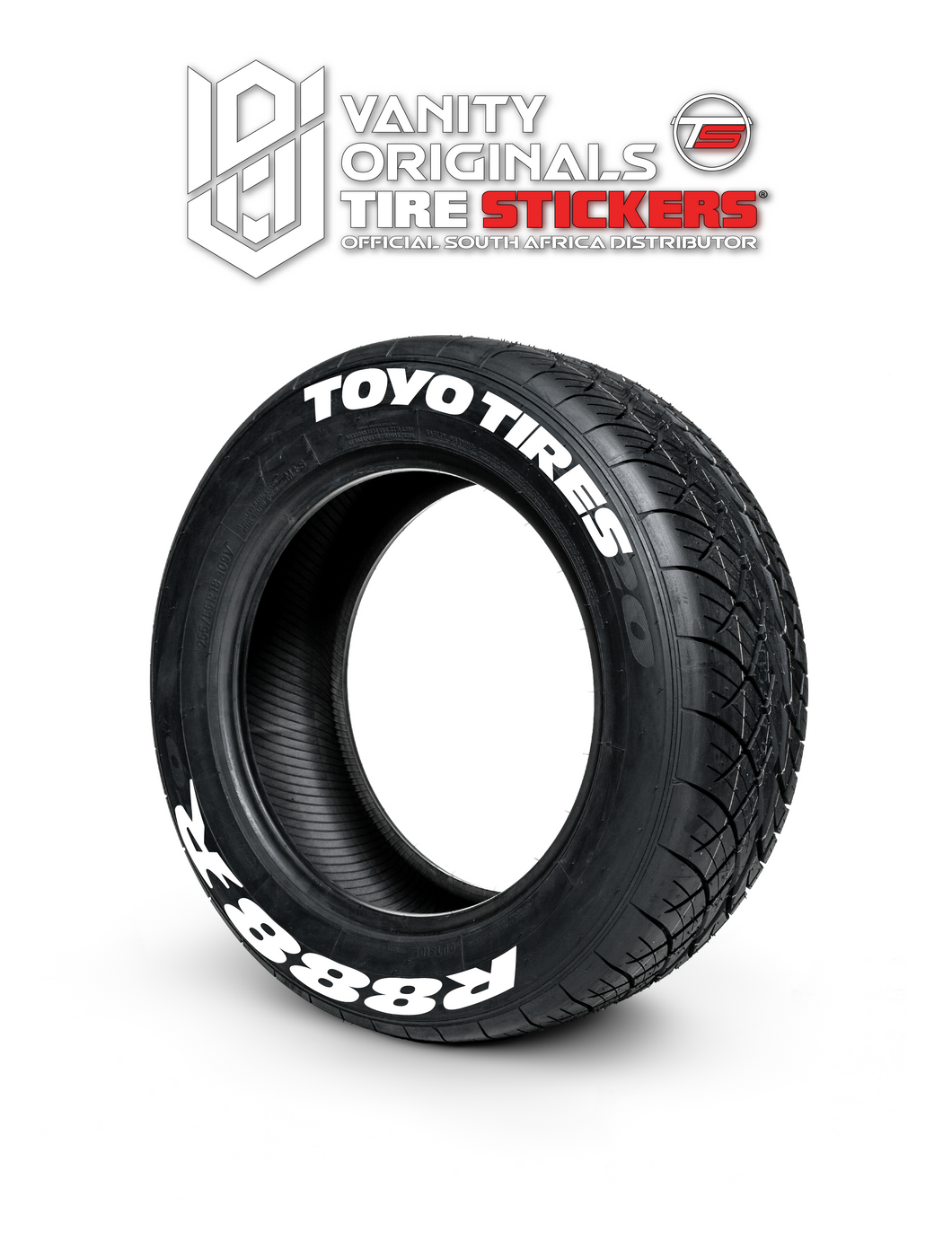 Toyo Tires R888 R ( 8x Rubber Decals, Adhesive & Instructions Included )