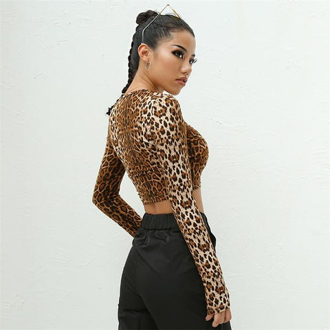 Top manga larga animalprint de leopardo