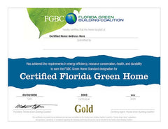 Certified Green Home Replacement Certificate