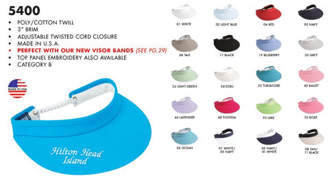 Town Talk Visors (Adjustable Twisted Cord Closure)