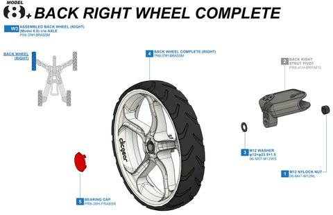 Clicgear 8+ - Back Right Wheel Complete