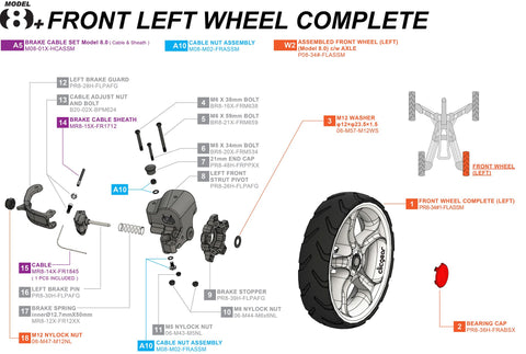 Clicgear 8+ - Front Left Wheel Complete