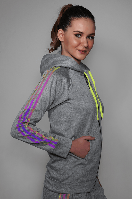 Grey Reflective Hoodie For Women + Track Pants