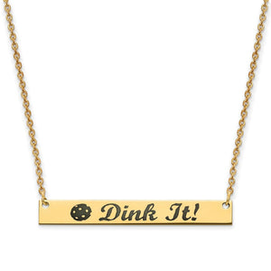 Pickleball Bar Necklace | Dink It! in Gold Plate