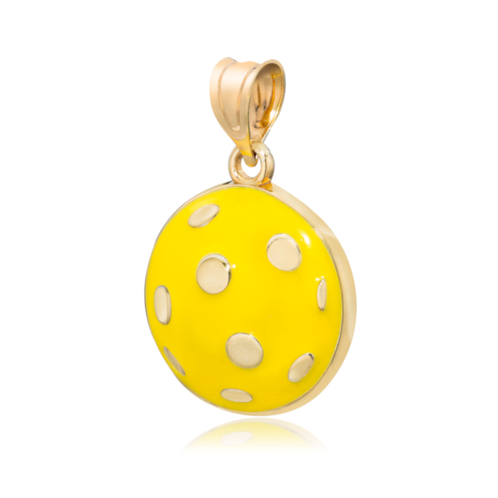 Pickleball Pendant | Domed Ball in Enamel & Gold Plate