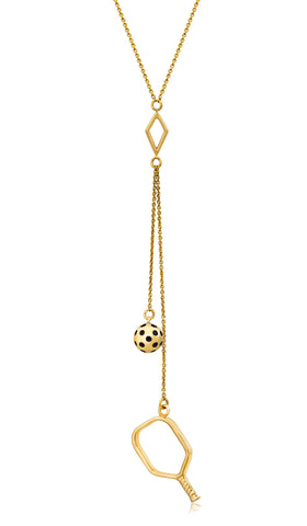 Pickleball Lariat Necklace | Open Paddle Double Drops in Yellow Gold