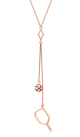 Pickleball Lariat Necklace | Open Paddle Double Drops in Rose Gold Plate