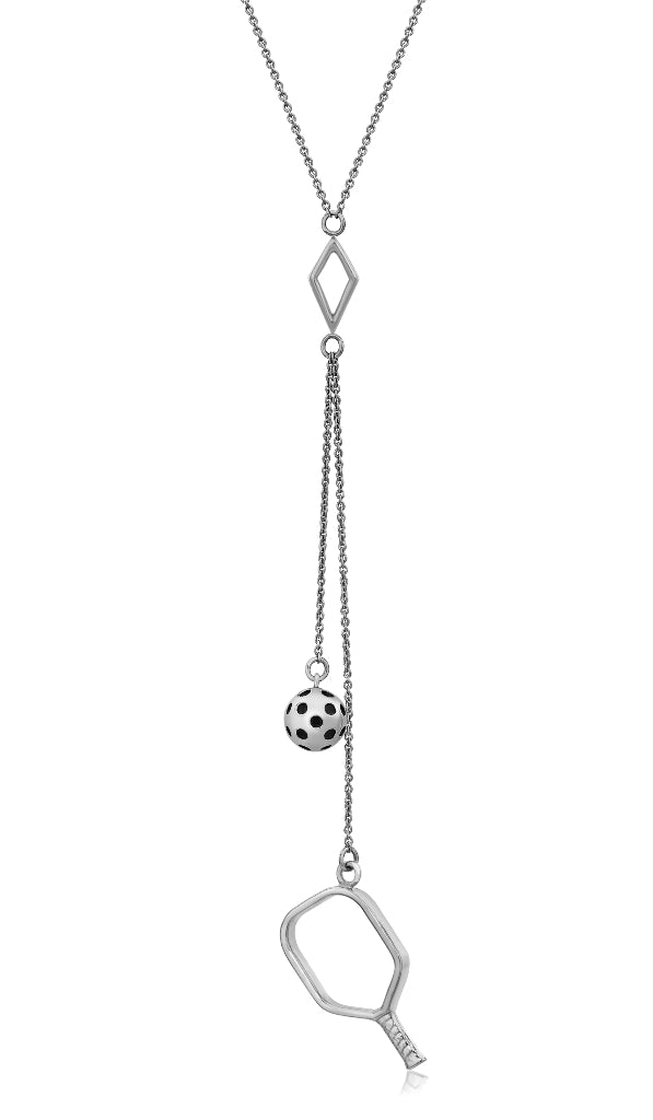 Pickleball Lariat Necklace | Open Paddle Double Drops in White Gold
