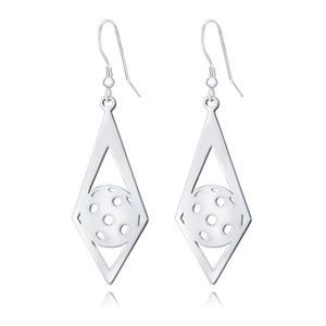 Pickleball Earrings | Ball in Diamond in Sterling Silver
