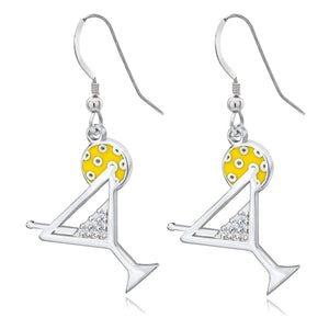 Pickleball Earrings | Pickle-tini in Sterling Silver