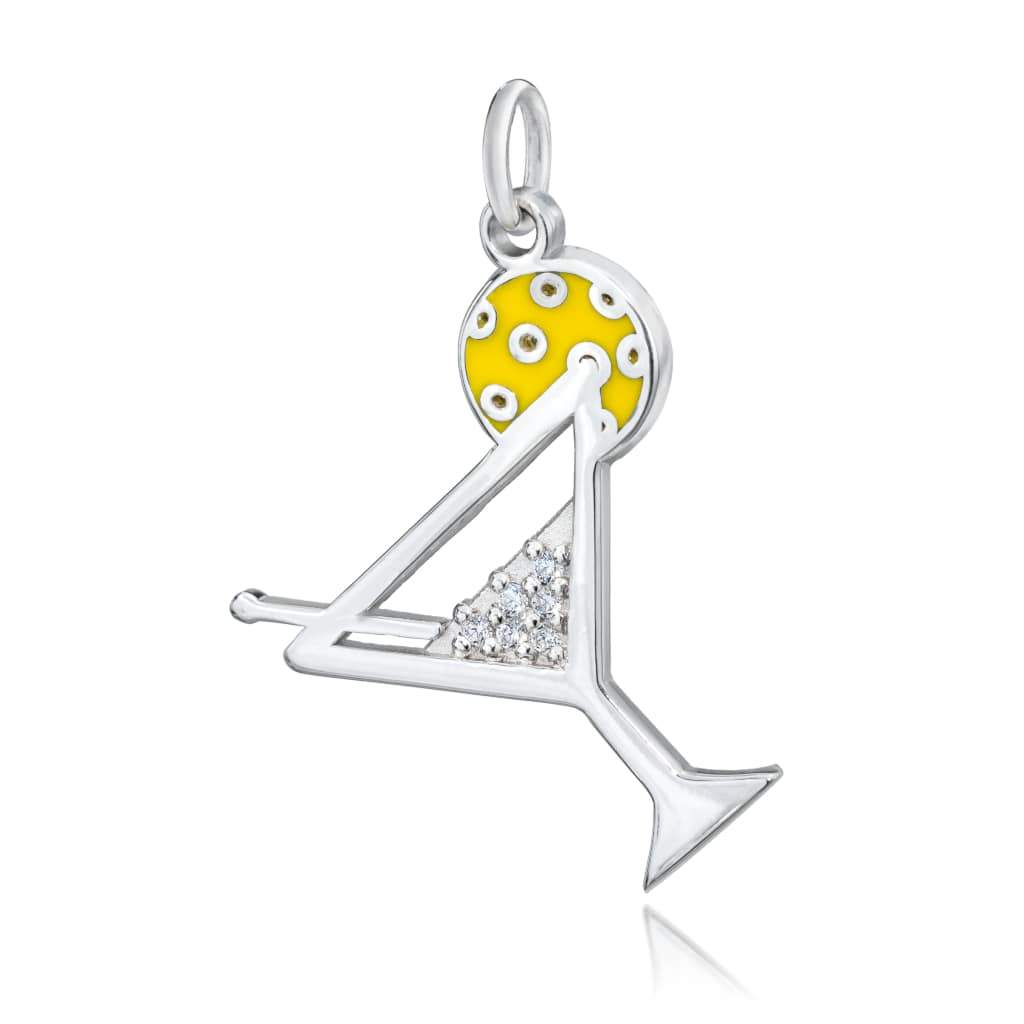 Pickleball Pendant | Martini Glass in Sterling Silver