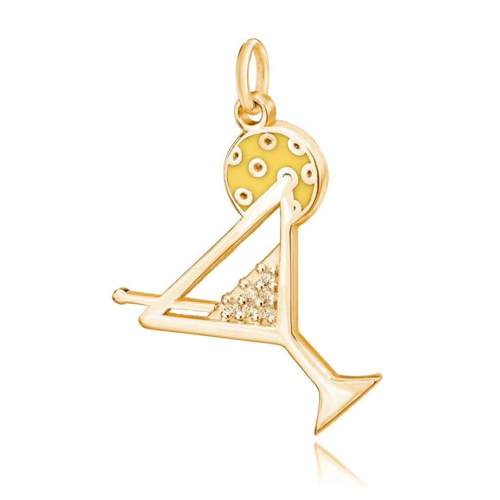 Pickleball Pendant | Martini Glass in Gold Plate