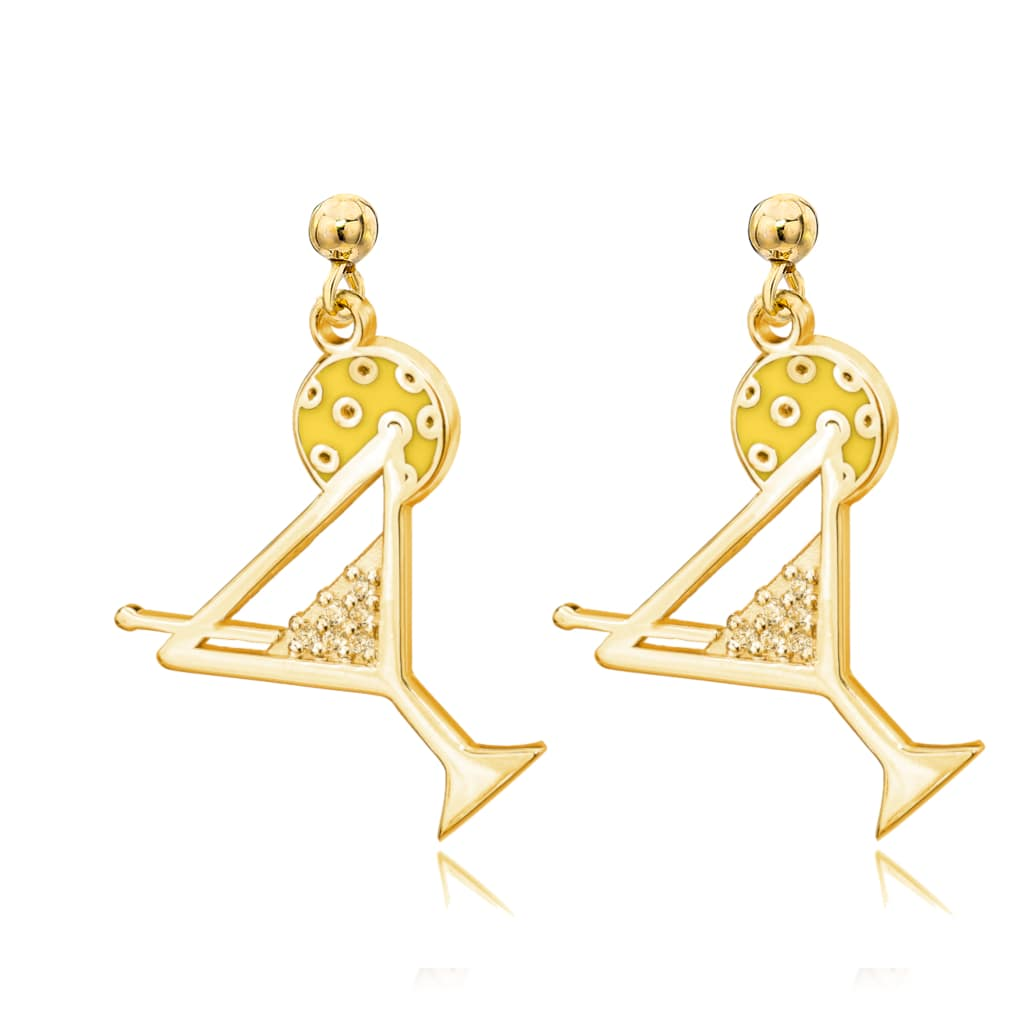 Pickleball Dangle Post Earrings | Pickle-tini in Gold Plate