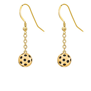 Pickleball Earrings | Ball Drop in Gold Plate