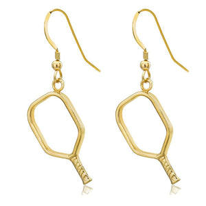 Pickleball Earrings | Open Paddle in Gold Plate