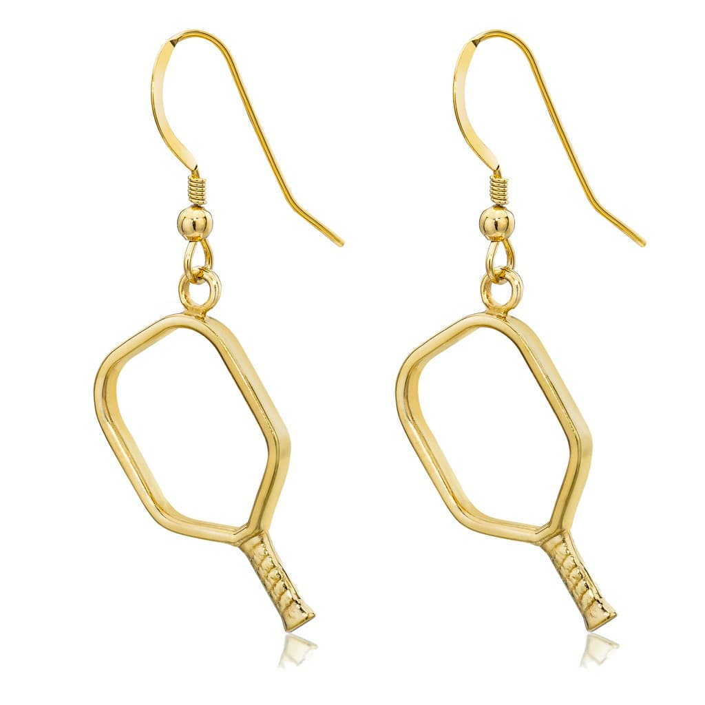 Pickleball Earrings | Open Paddle in Yellow Gold
