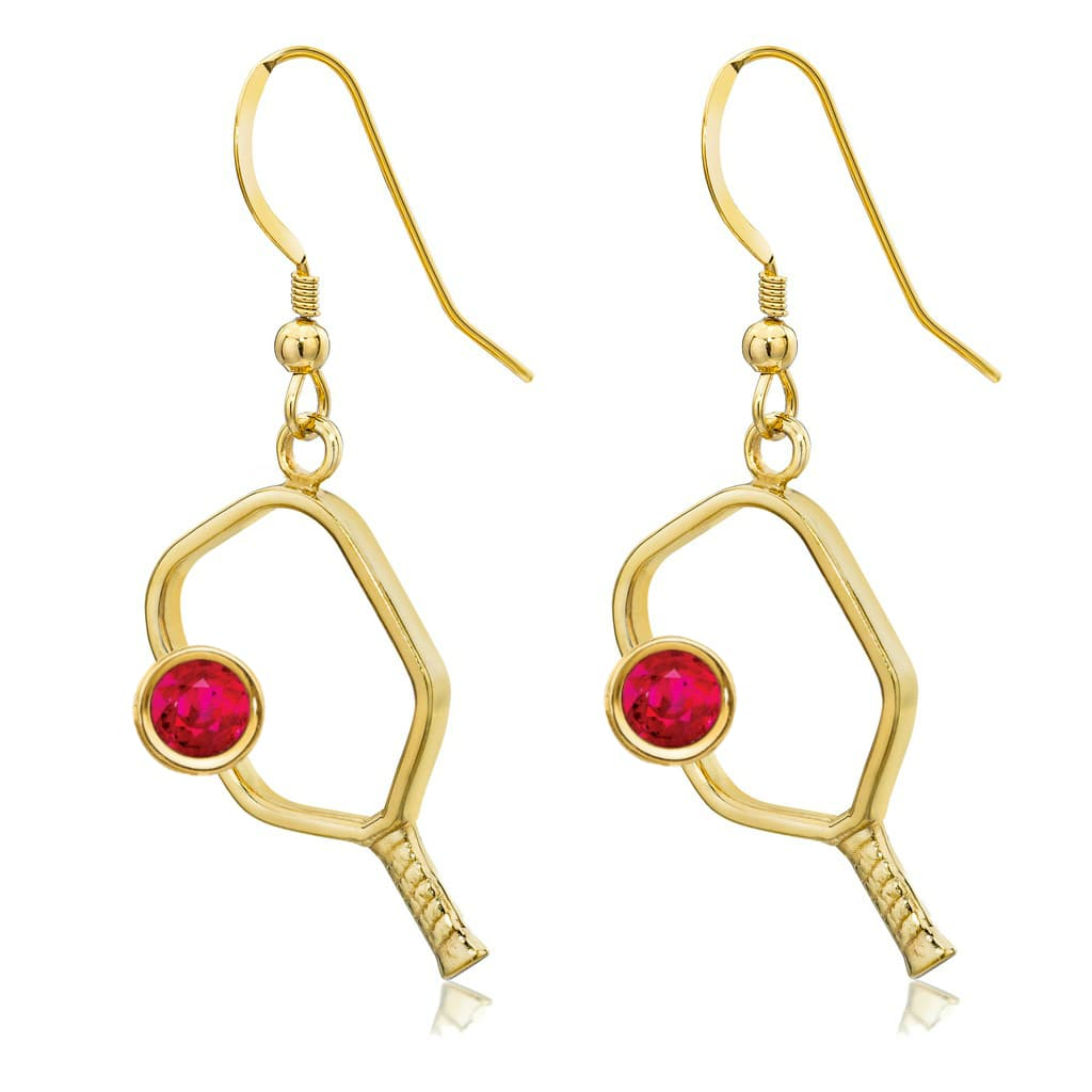 Pickleball Earrings with Birthstone in Gold Plate