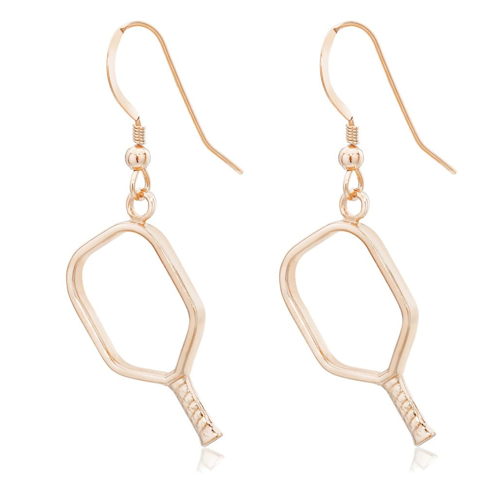 Pickleball Earrings | Open Paddle in Rose Gold Plate