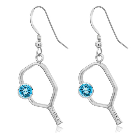 Pickleball Earrings with Birthstone in Sterling Silver