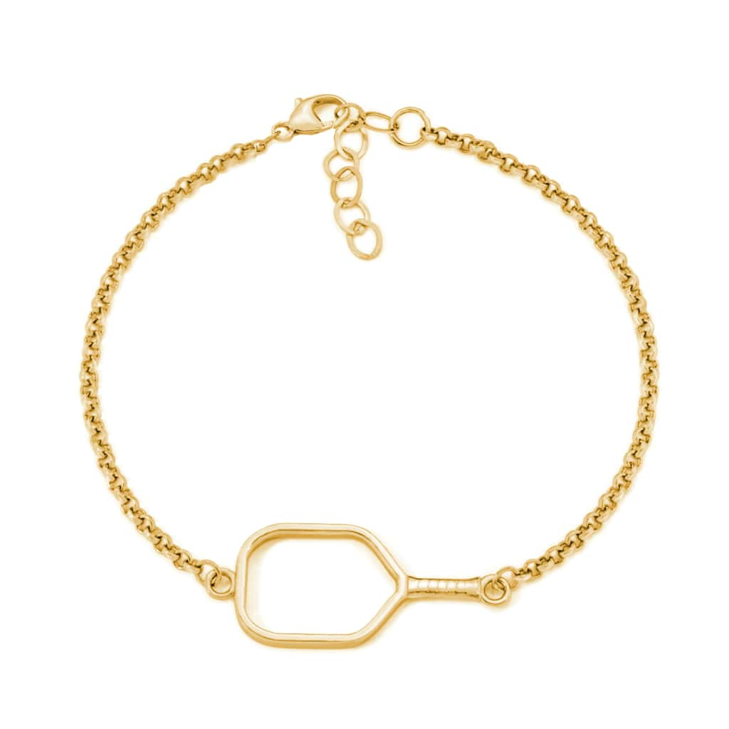 Pickleball Bracelet | Open Paddle in Yellow Gold