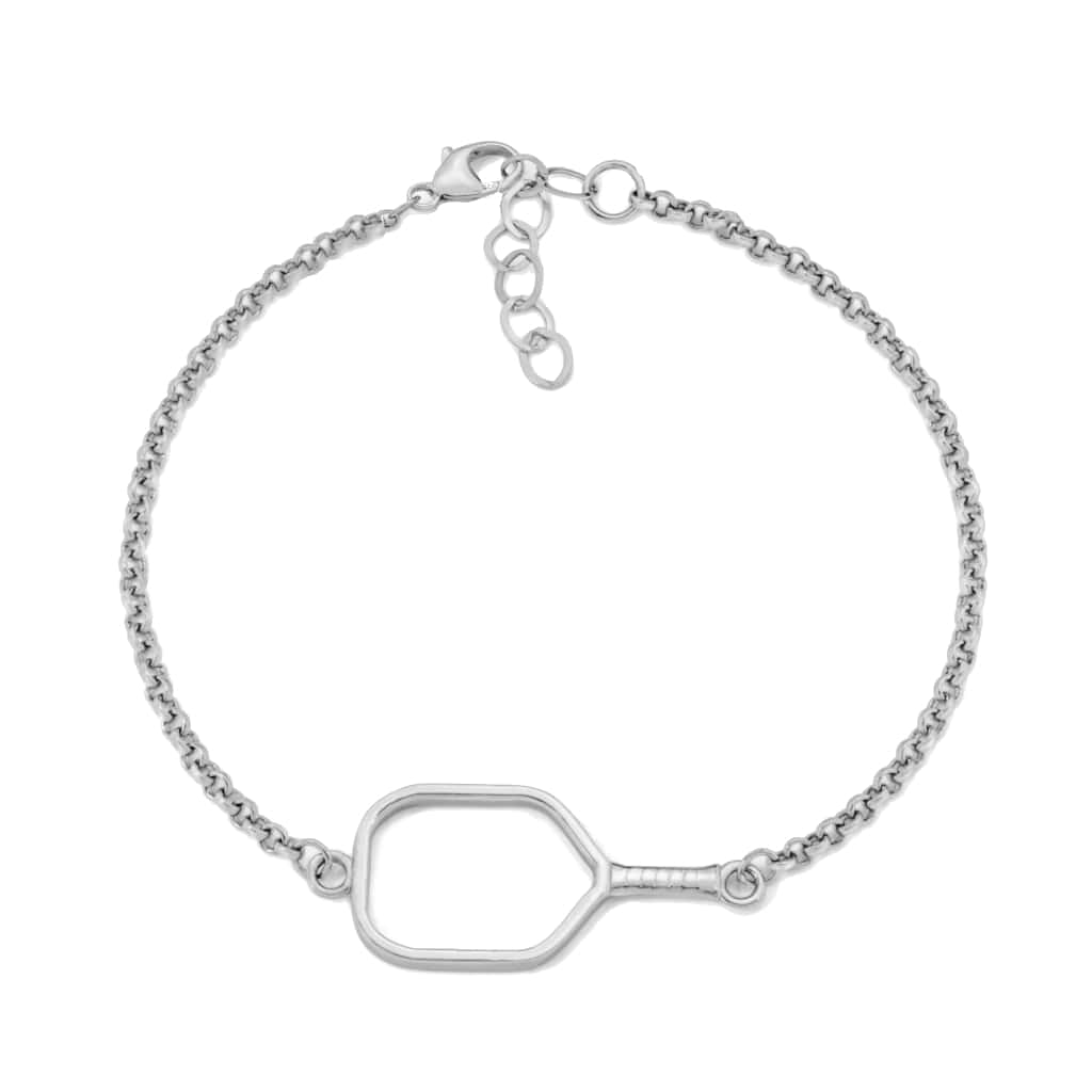 Pickleball Bracelet | Open Paddle in White Gold
