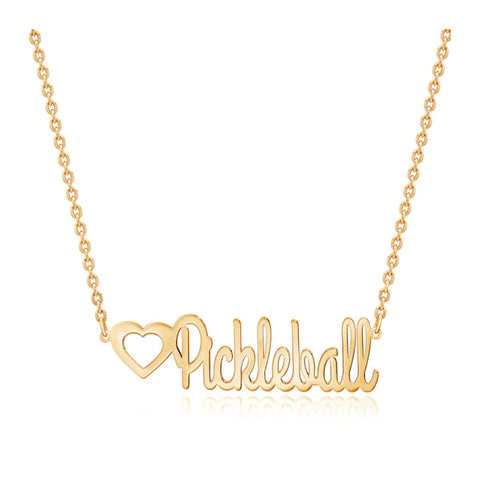 Pickleball Necklace | Art Deco Script Gold Plate