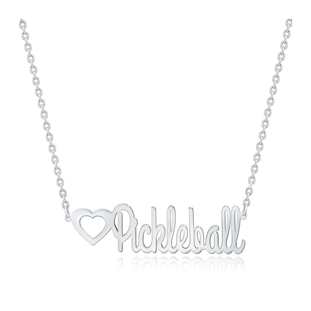 Pickleball Necklace | Art Deco Script Sterling Silver