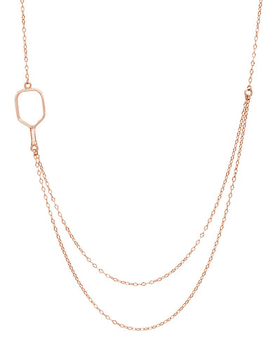 Pickleball Necklace | 2 Chain Offset Open Paddle in Rose Gold