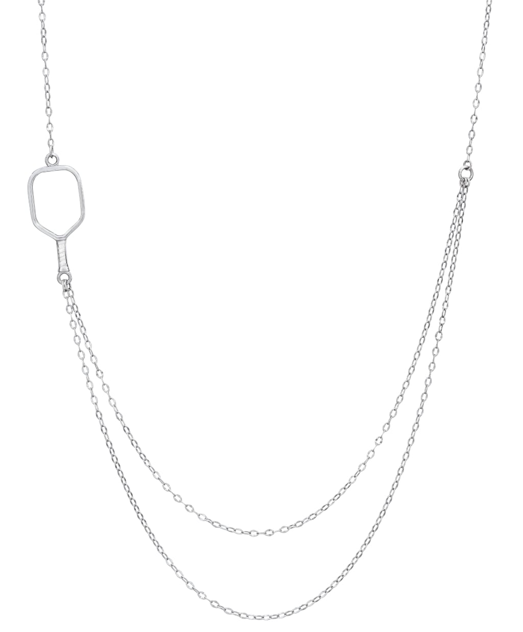 Pickleball Necklace | 2 Chain Offset Open Paddle in Sterling Silver