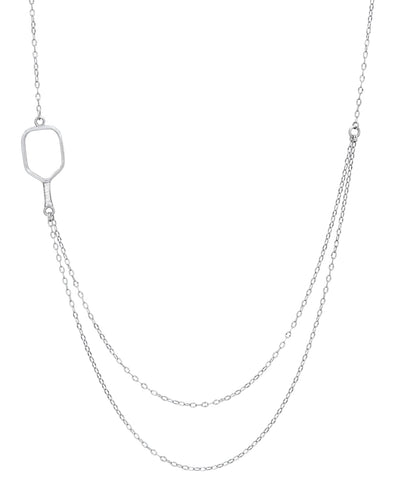 Pickleball Necklace | 2 Chain Offset Open Paddle in White Gold
