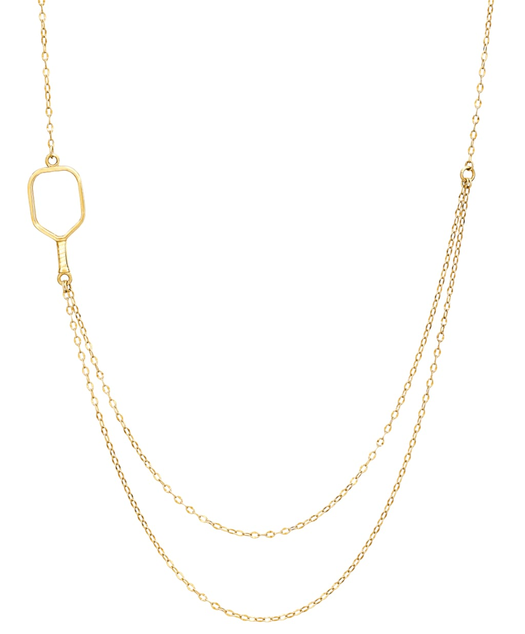 Pickleball Necklace | 2 Chain Offset Open Paddle in Yellow Gold