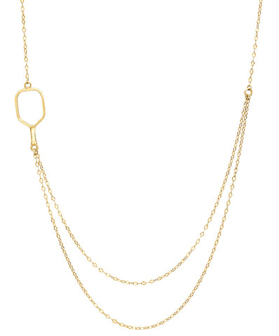 Pickleball Necklace | 2 Chain Offset Open Paddle in Gold Plate