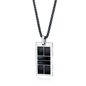 Pickleball Necklace | Court in Stainless Steel & Black Resin