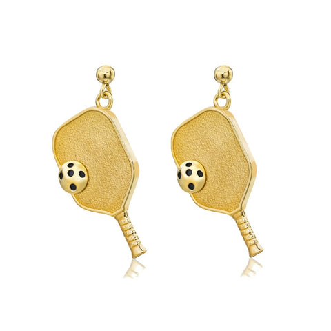 Pickleball Dangle Post Earrings | Paddle & Ball in Yellow Gold