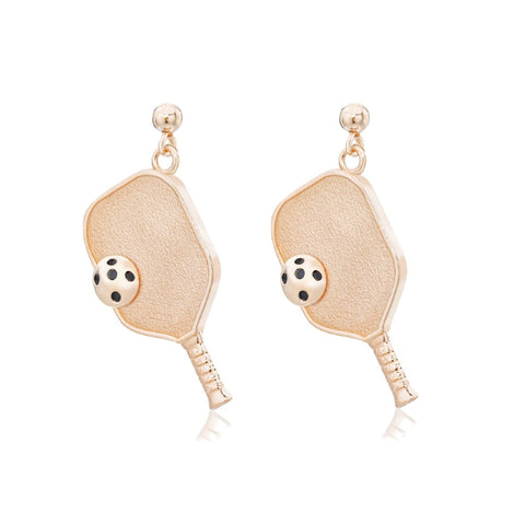 Pickleball Dangle Post Earrings | Paddle & Ball in Rose Gold