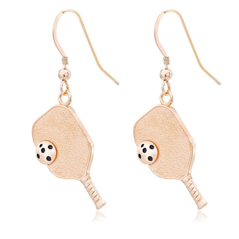Pickleball Earrings | Paddle & Ball in Rose Gold Plate