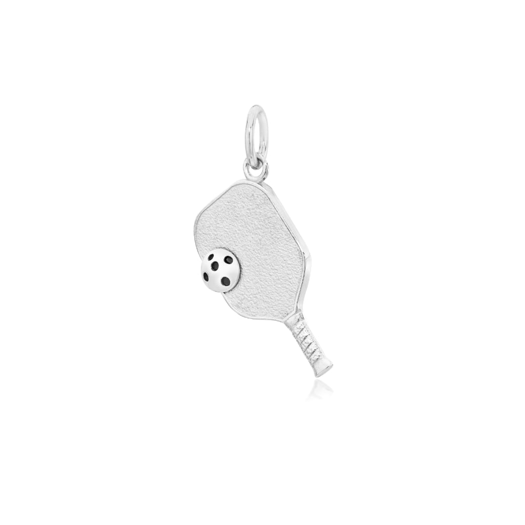 Pickleball Pendant | Paddle & Ball in White Gold - Small