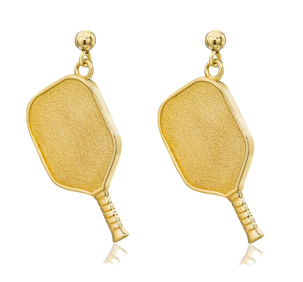 Pickleball Dangle Post Earrings | Paddle in Gold Plate