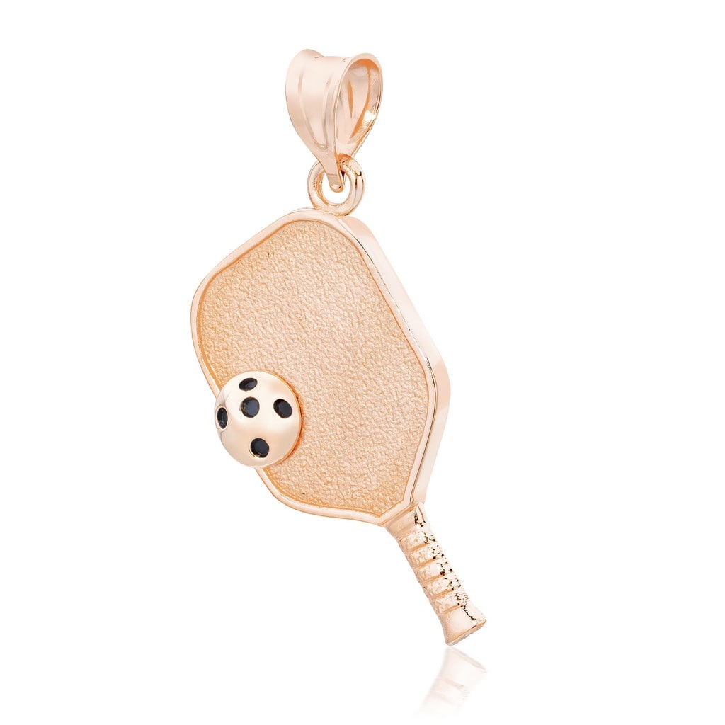 Pickleball Pendant | Paddle & Ball in Rose Gold Plate