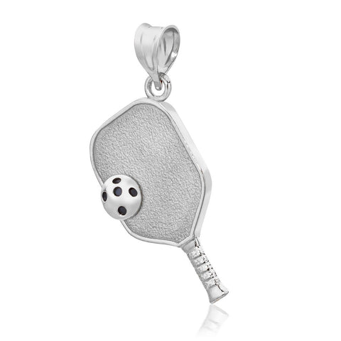 Pickleball Pendant | Paddle & Ball in White Gold