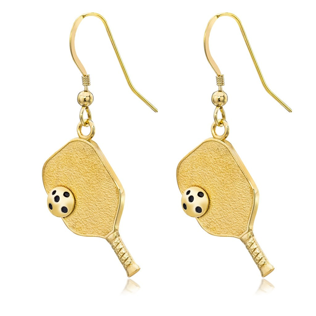 Pickleball Earrings | Paddle & Ball in Yellow Gold