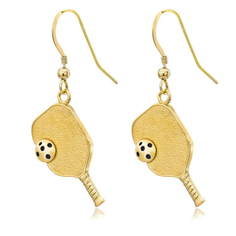 Pickleball Earrings | Paddle & Ball in Gold Plate